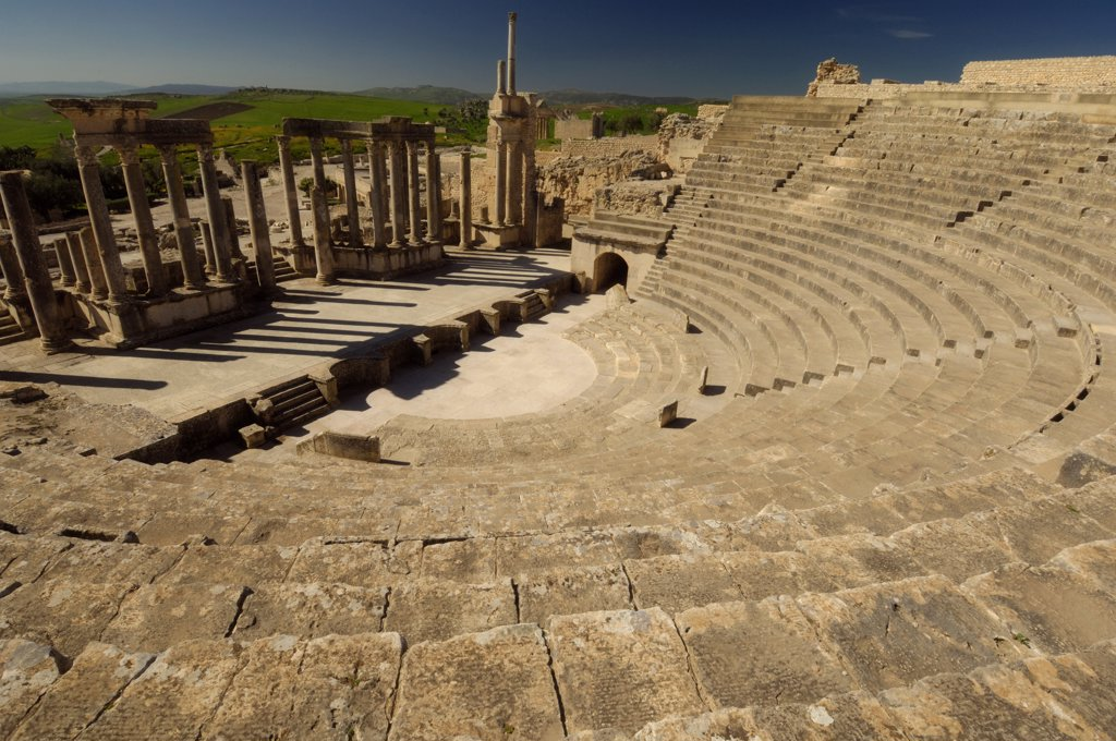 Stock Photo: 1838-3770 Ancient Roman Theater in Dougga, Tunisia
