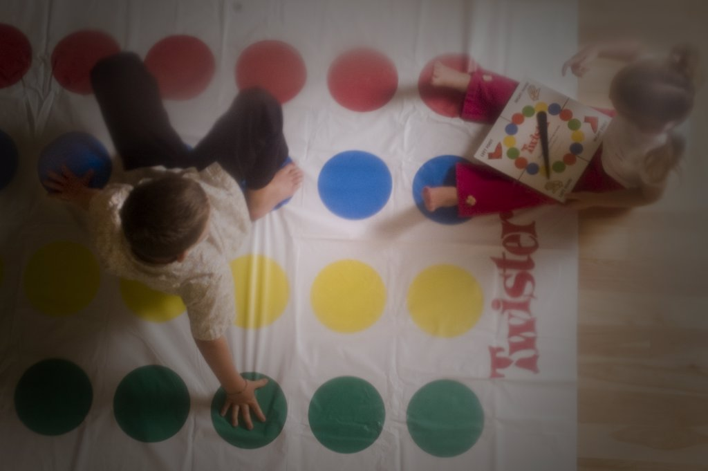 Kids Playing Twister : Stock Photo