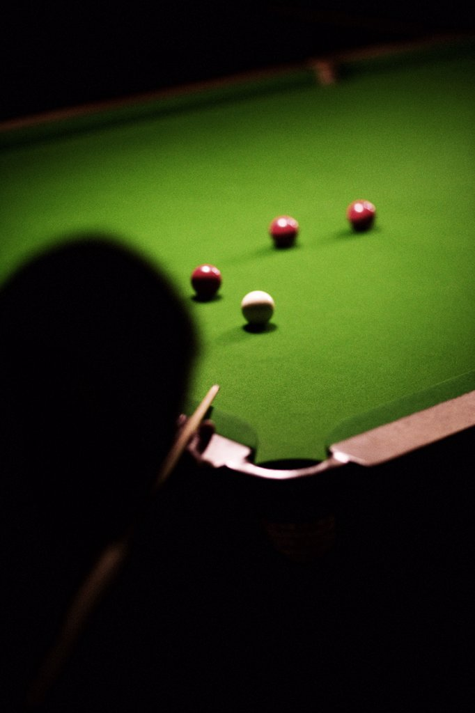 Person Playing Billiards : Stock Photo
