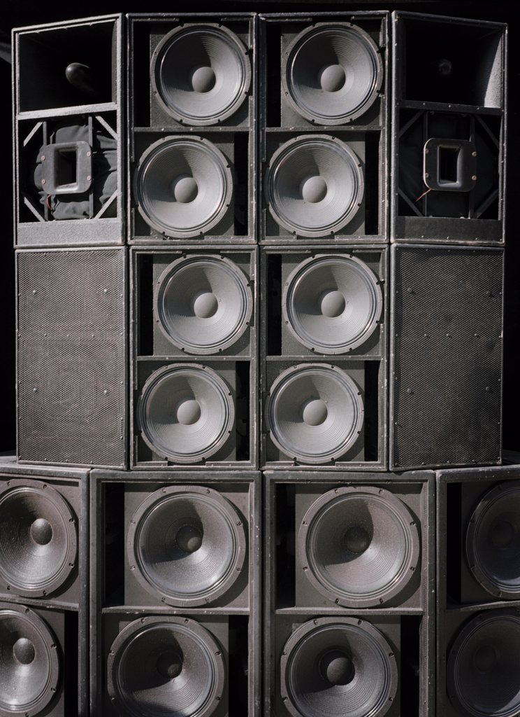 Stock Photo: 1838-7231 Many Loudspeakers
