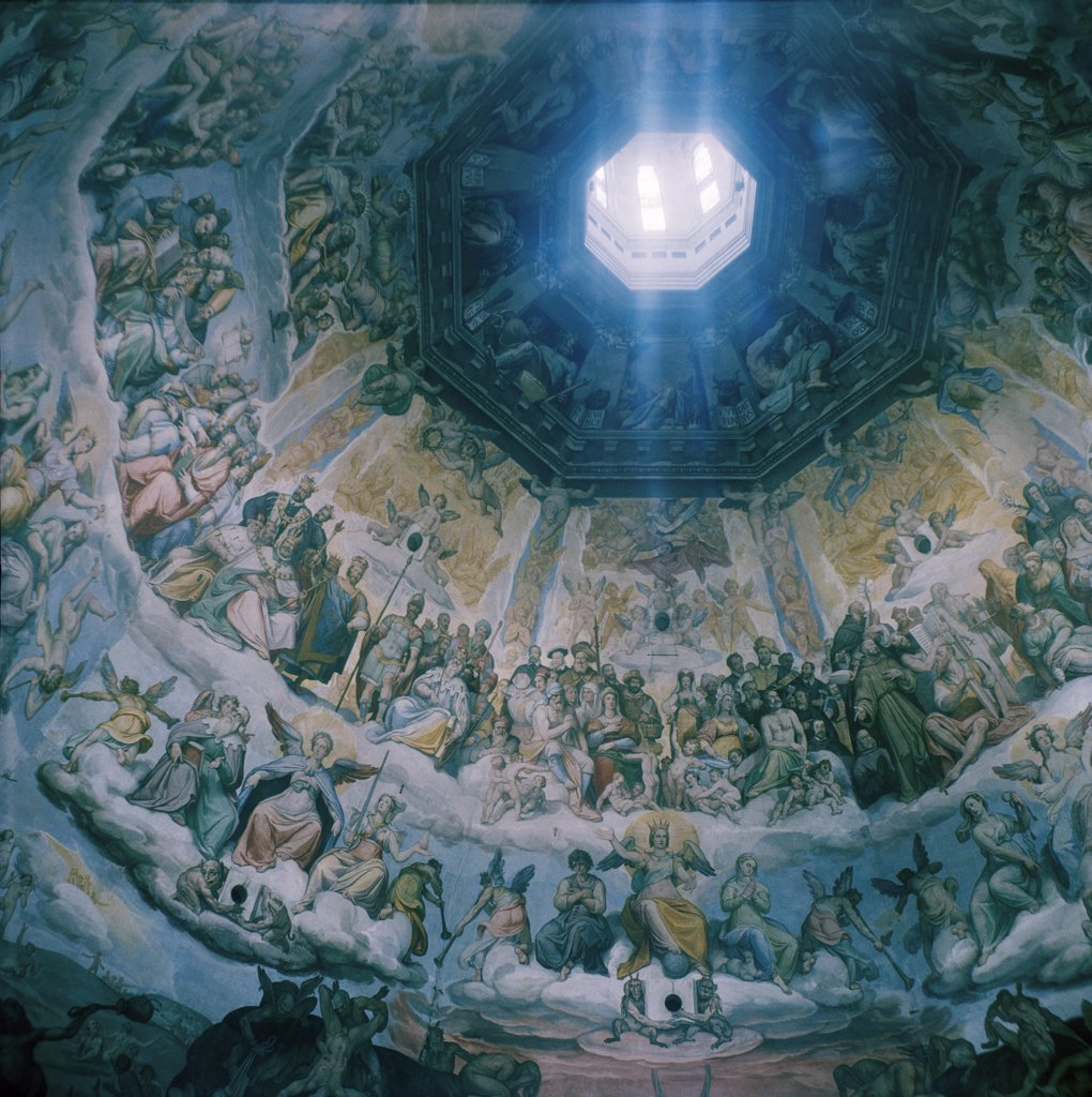 Stock Photo: 1838-7423 Painting on Dome Ceiling of Cathedral