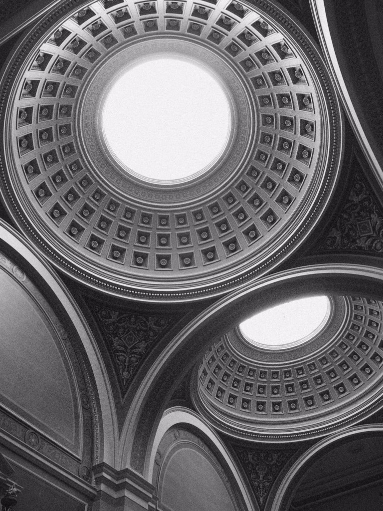 Ceiling With Two Domes and Skylights : Stock Photo