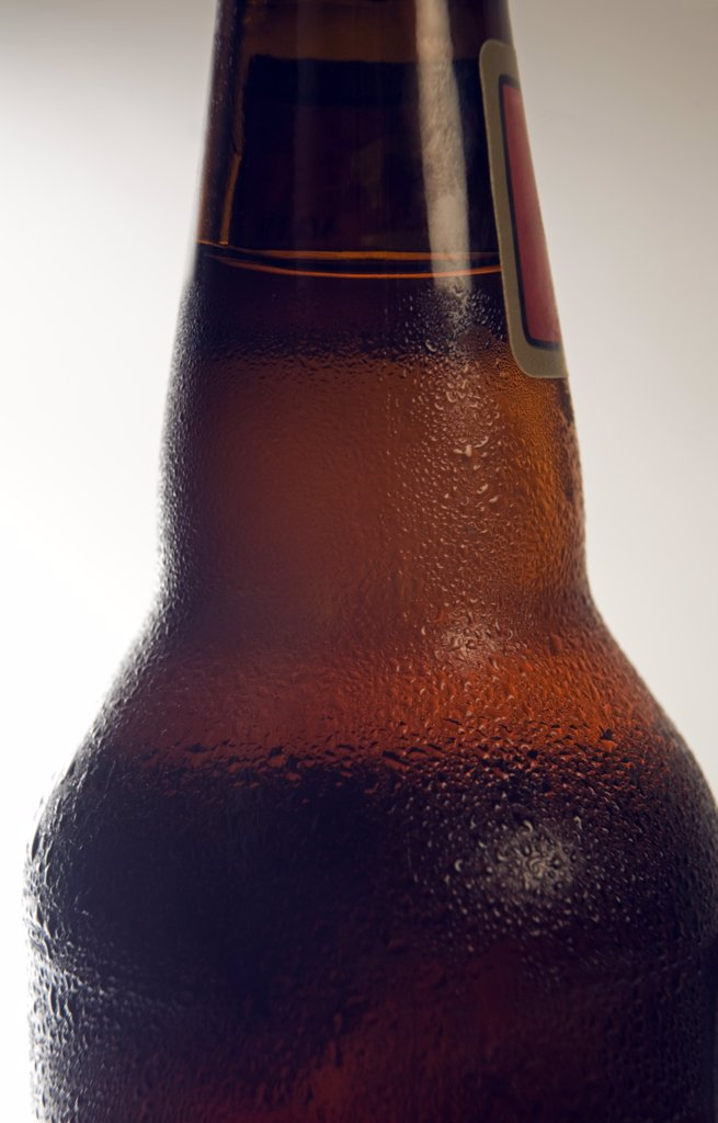 Condensation on Chilled Beer Bottle : Stock Photo