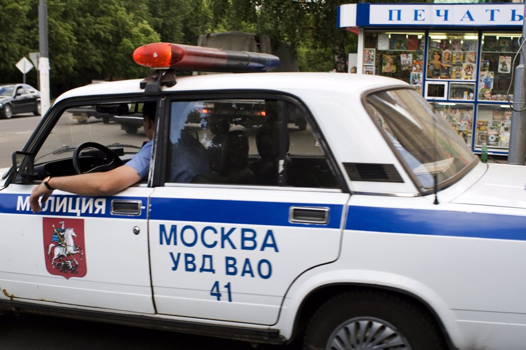 Stock Photo: 1838-8529 Police Car, Moscow, Russia