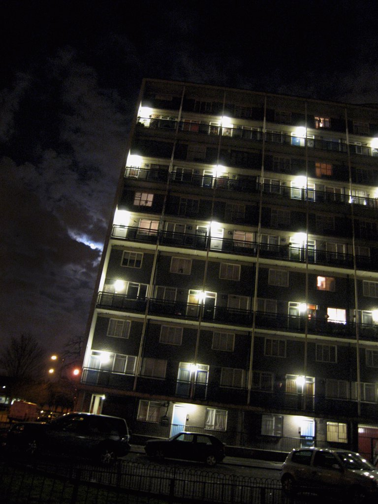 Apartment Building at Night : Stock Photo