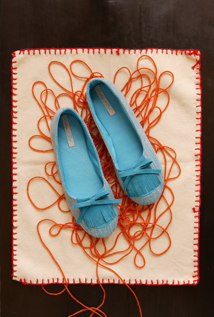 Stock Photo: 1838-9518 Blue Shoes and Yarn