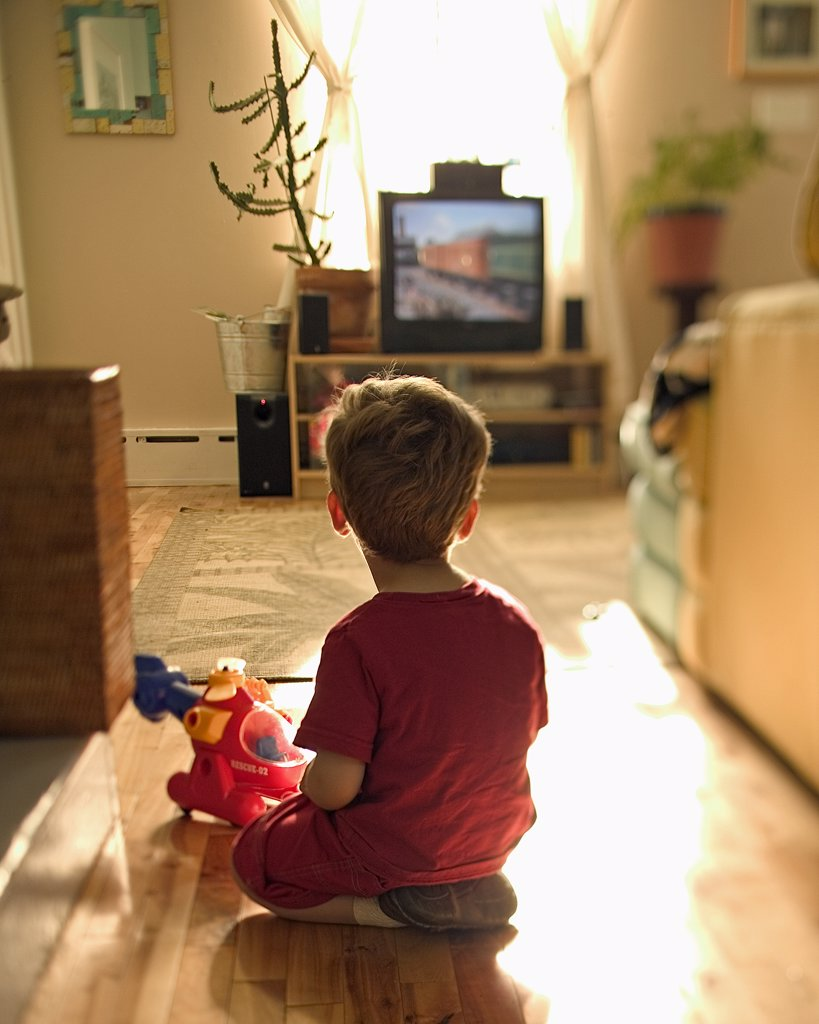 Young Boy Watching TV : Stock Photo