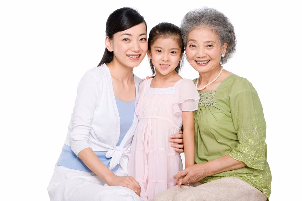 Stock Photo: 1839R-11378 Portrait of three generations of ladies