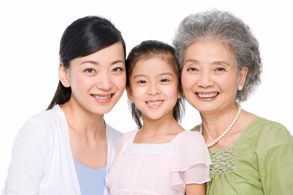 Stock Photo: 1839R-11379 Portrait of three generations of ladies