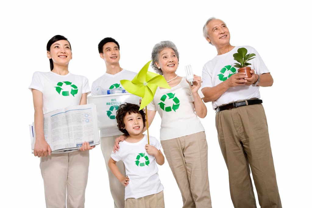 Portrait of an eco_friendly family : Stock Photo
