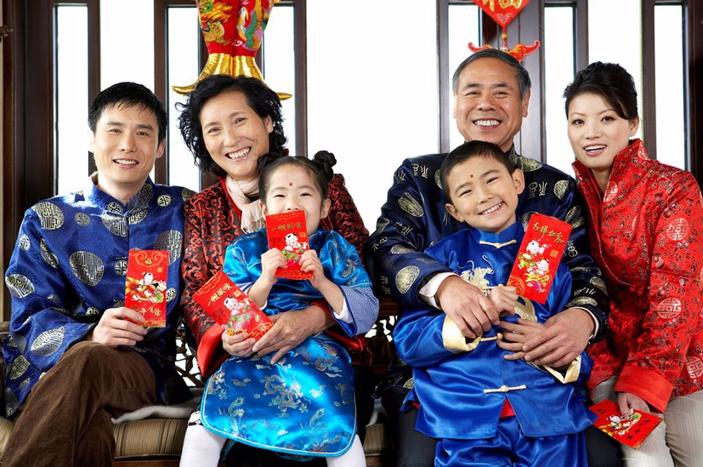 Multi_Generation Family Celebrating Chinese New Year : Stock Photo
