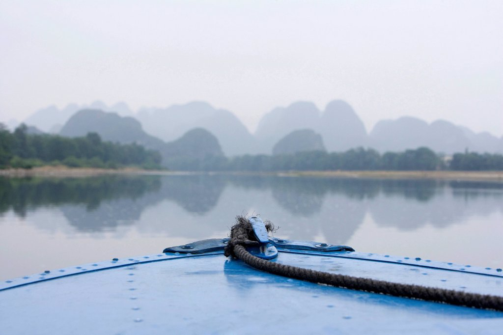 View of the Guilin hills from a boat : Stock Photo