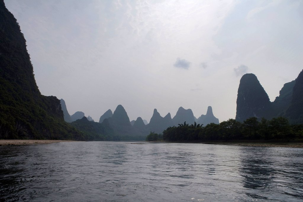 Stock Photo: 1839R-14047 View of the Guilin hills from a boat