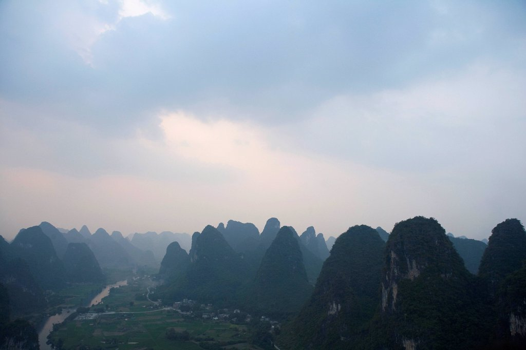 A view of the Guilin Hills : Stock Photo