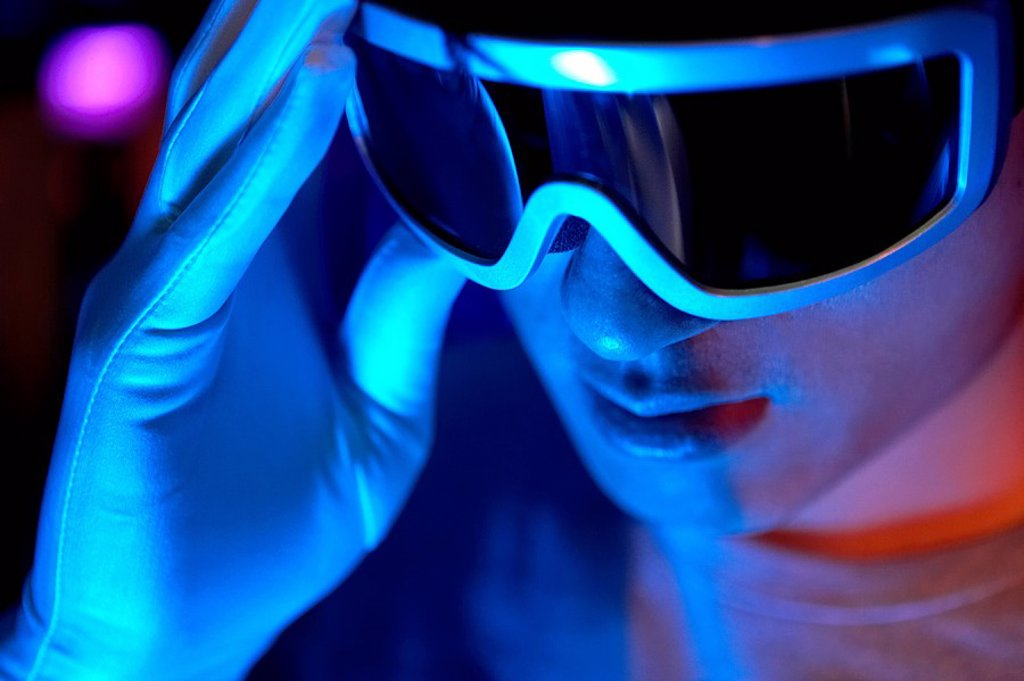 Stock Photo: 1839R-1556 Close_Up Of Futuristic Looking Man Wearing Sunglasses