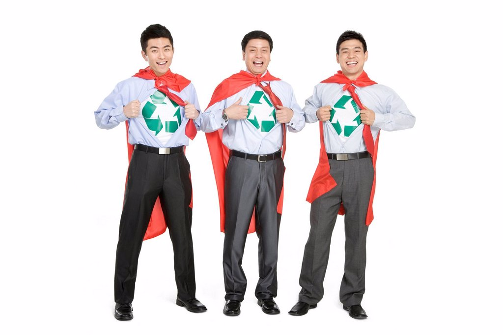 Stock Photo: 1839R-16257 Office recycling superheroes