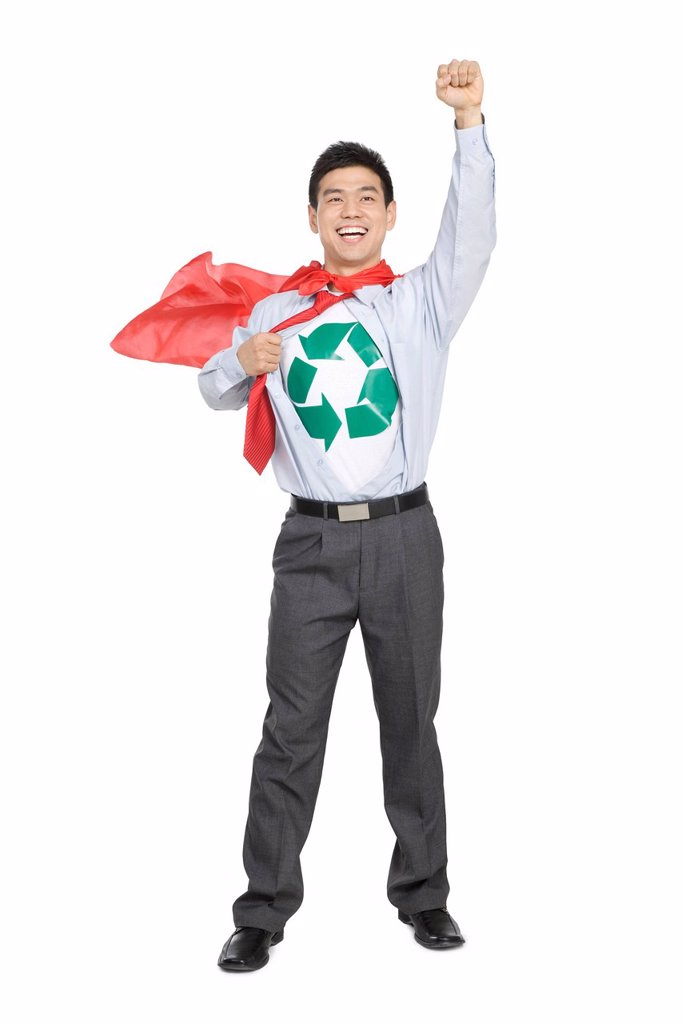 Stock Photo: 1839R-16276 Office recycling superhero
