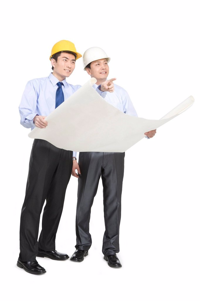 Stock Photo: 1839R-16289 Construction managers in hard hats
