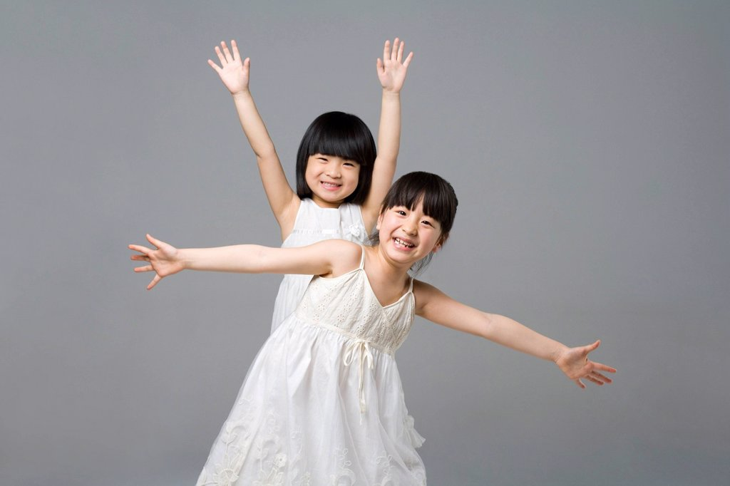 Portrait of two little girls : Stock Photo