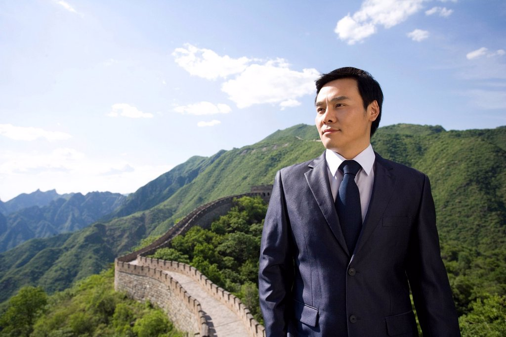 Stock Photo: 1839R-17872 Businessman on the Great Wall