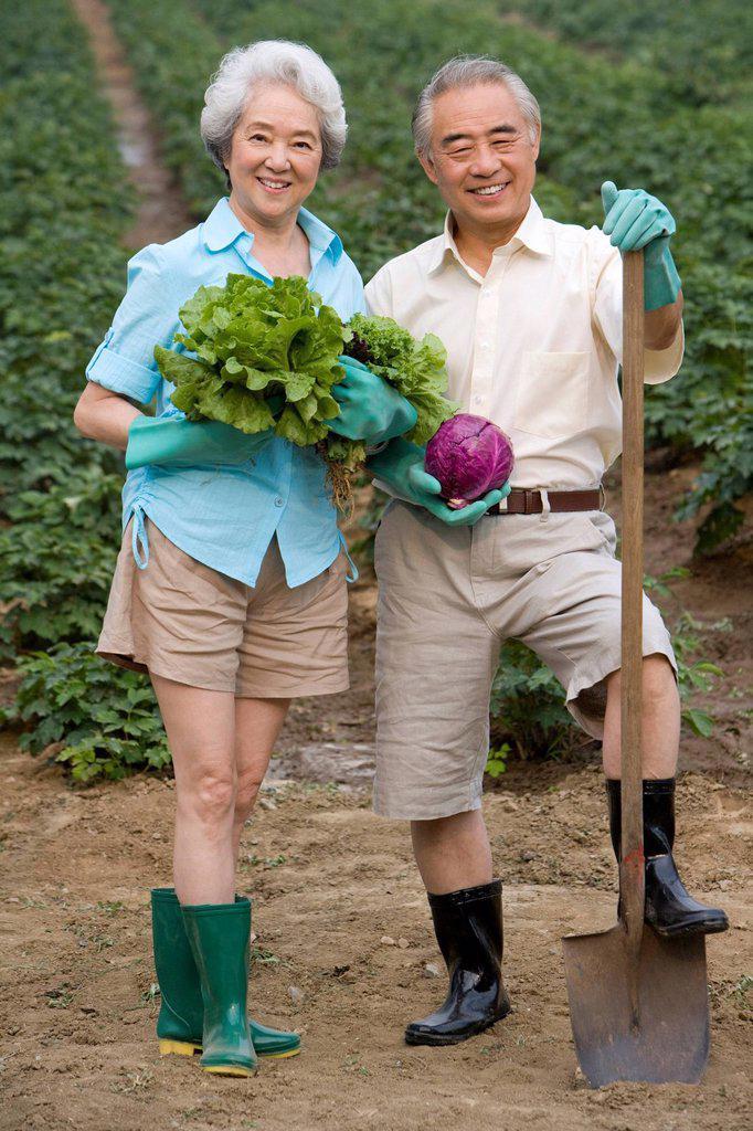 Senior couple gardening : Stock Photo