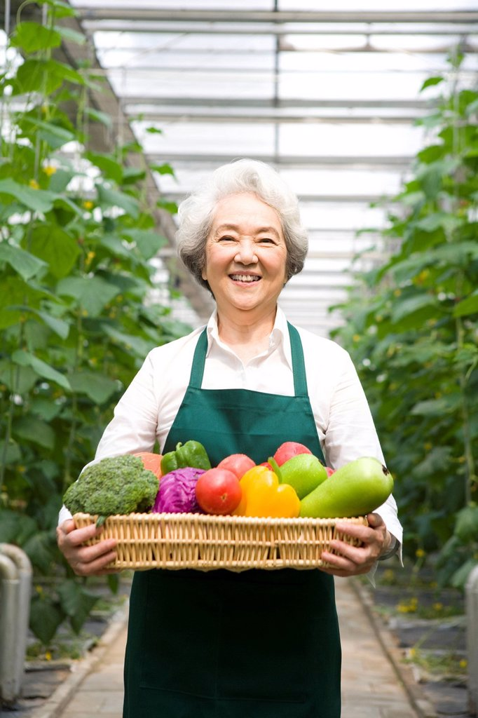 Farmer holding vegetables in modern farm : Stock Photo