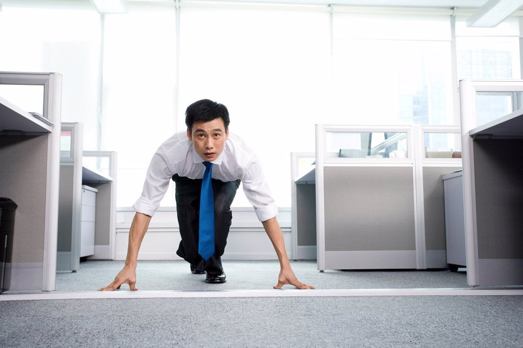 Ready to run in the office : Stock Photo