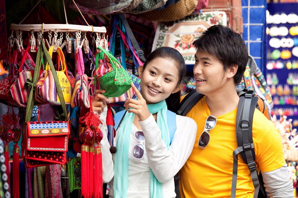 Young Couple Shopping at a Market, Dali : Stock Photo