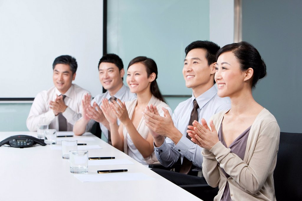Stock Photo: 1839R-18919 Business Team Applauding Success