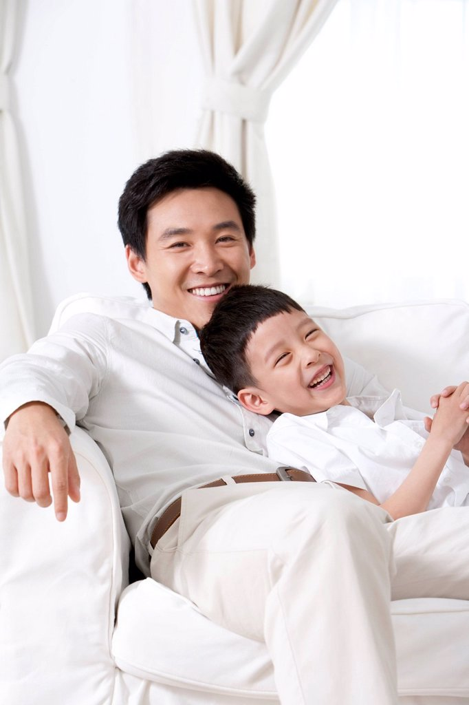 Stock Photo: 1839R-19668 Father and Son Bonding