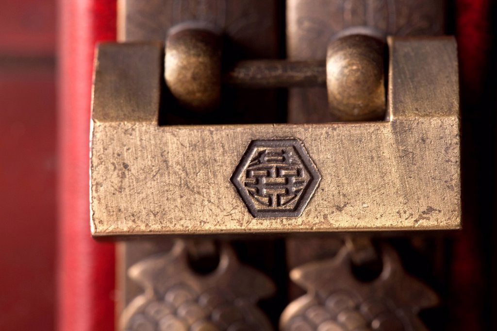 Close_up of an ornate lock : Stock Photo