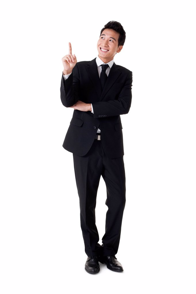 Stock Photo: 1839R-19807 Businessman pointing the air