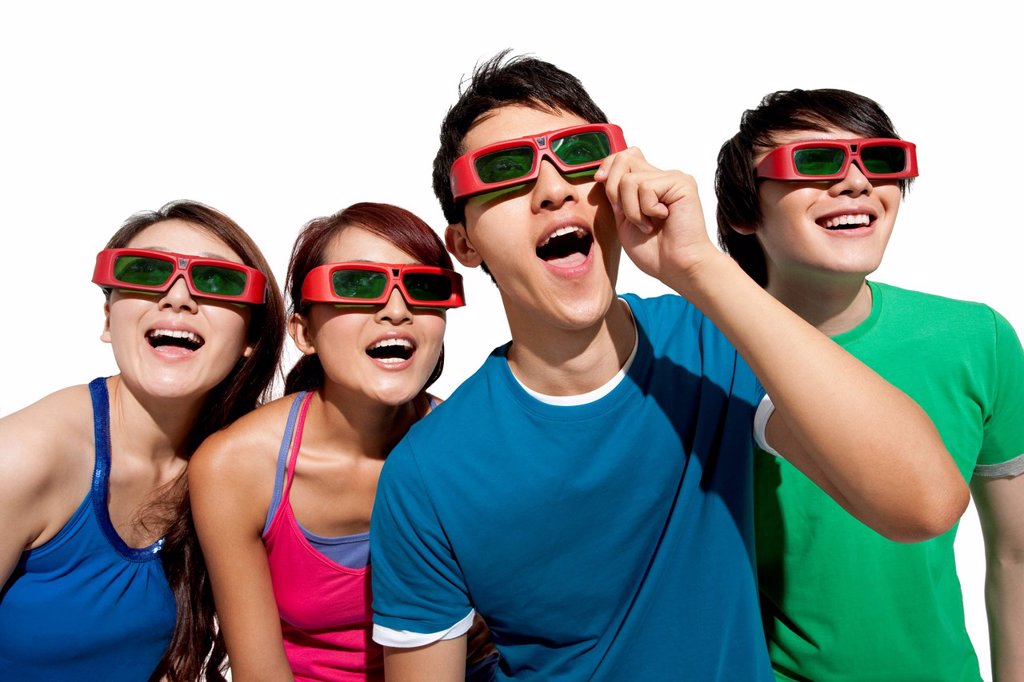 Young people waching 3D movie : Stock Photo