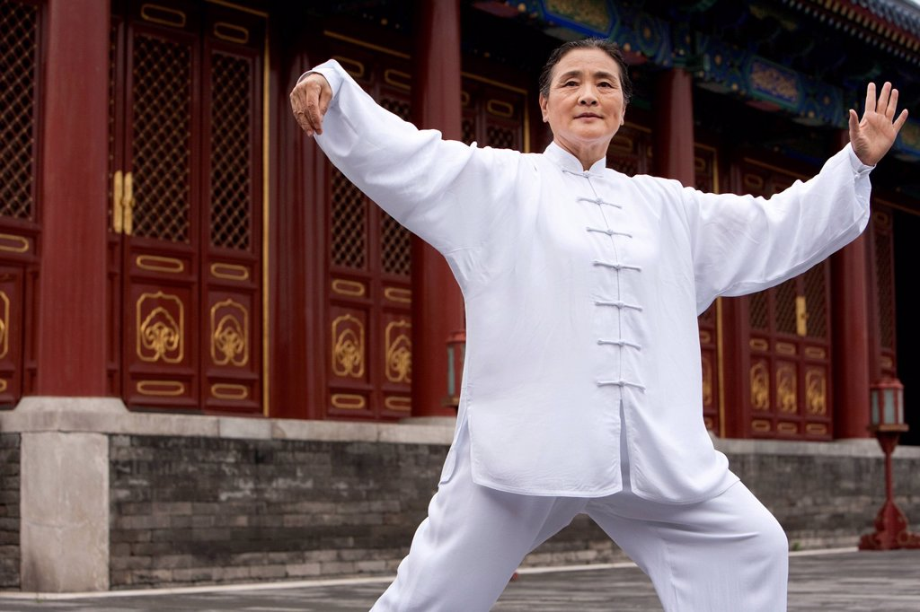 Stock Photo: 1839R-22595 Senior Woman Practicing Tai Chi, Temple of Heaven