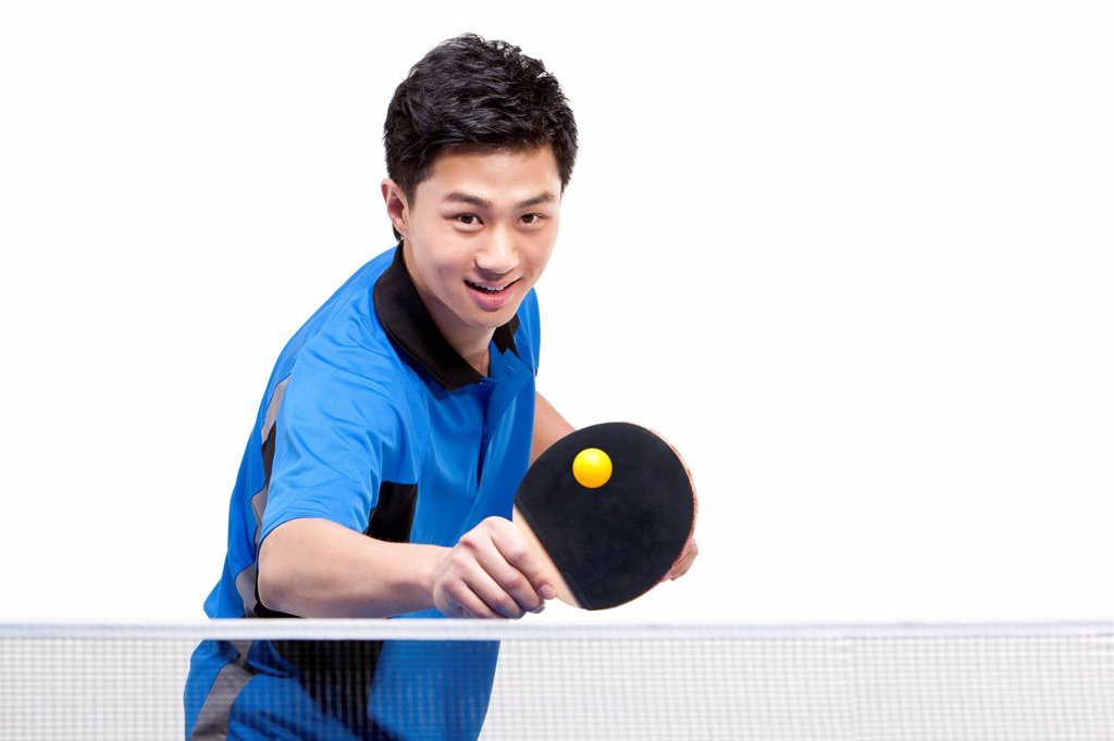 Stock Photo: 1839R-23059 Table tennis player playing