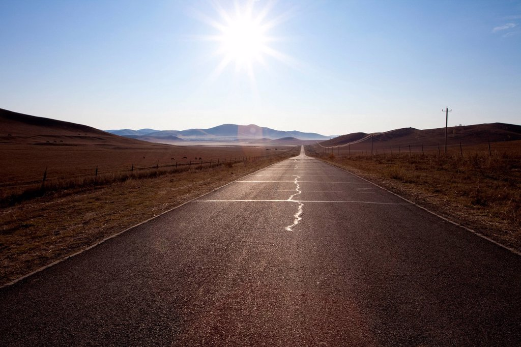 Stock Photo: 1839R-23332 A country road in Inner Mongolia