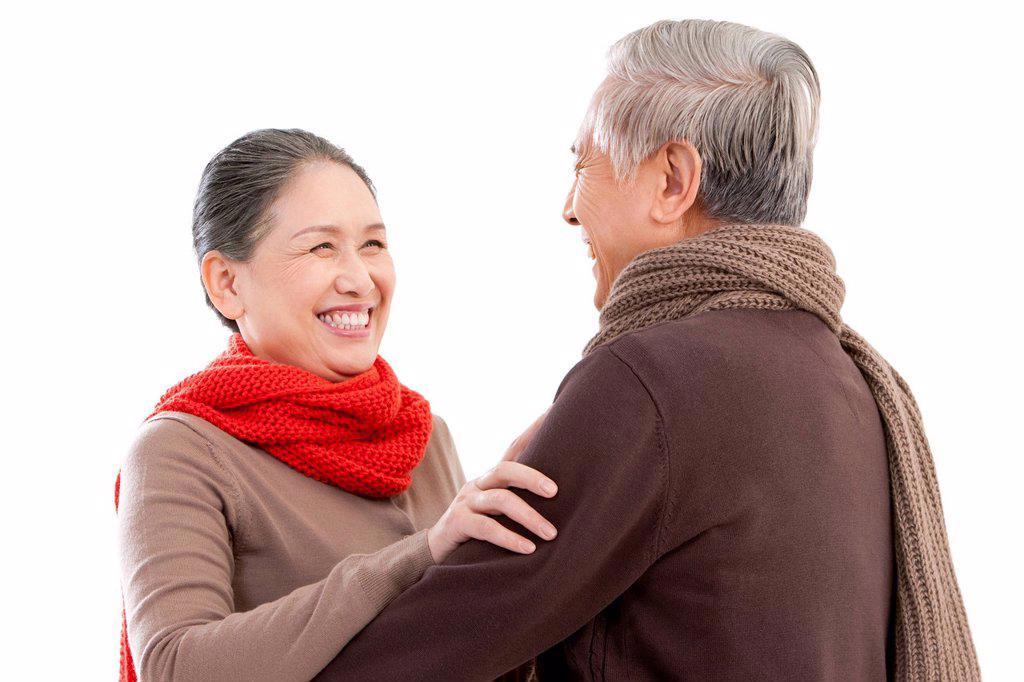 Senior affectionate couple embracing : Stock Photo