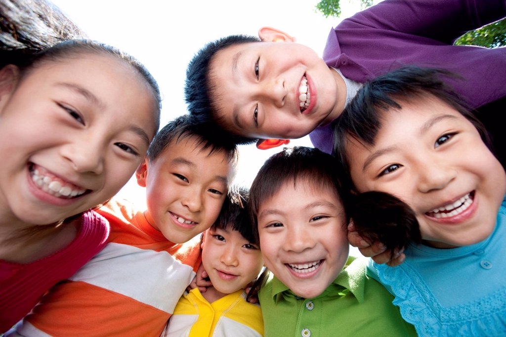 Stock Photo: 1839R-24327 Picture of Children from Below