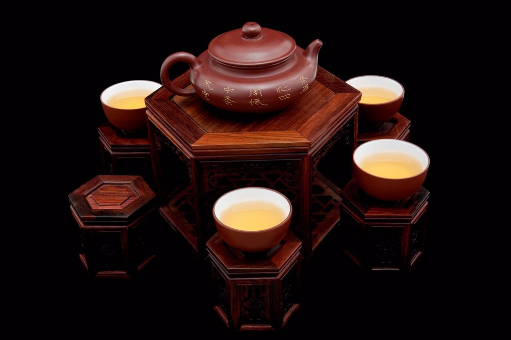 Close_up of traditional tea set : Stock Photo