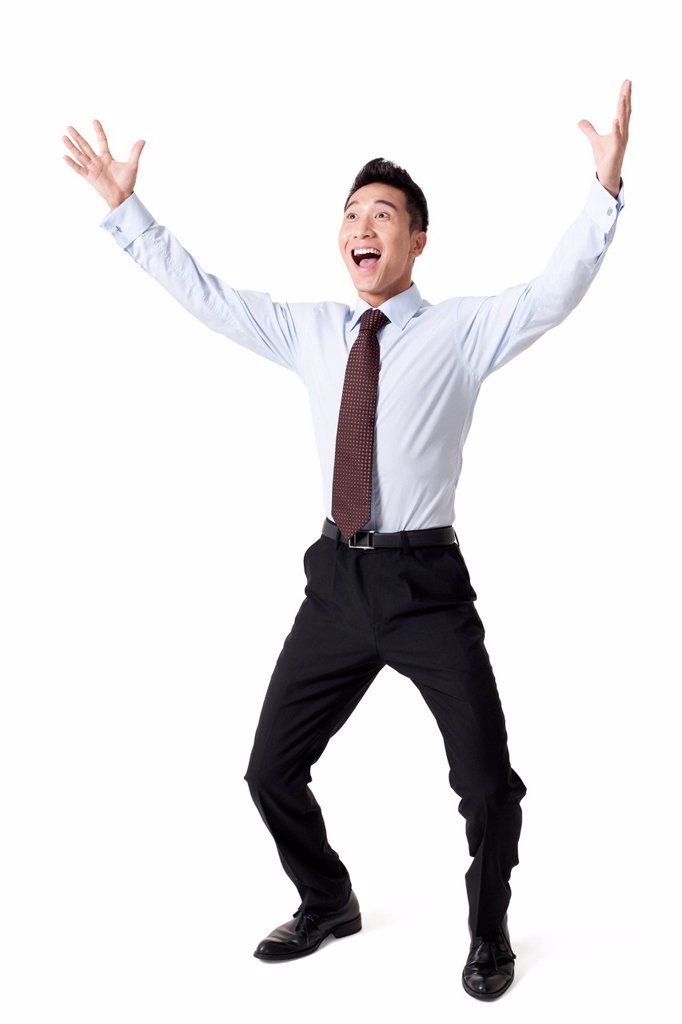 Stock Photo: 1839R-25229 Portrait of an Excited Businessman