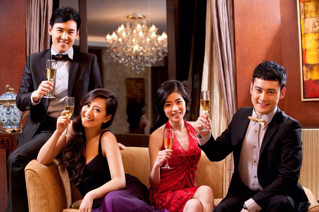 Stock Photo: 1839R-25584 Young people in formal party