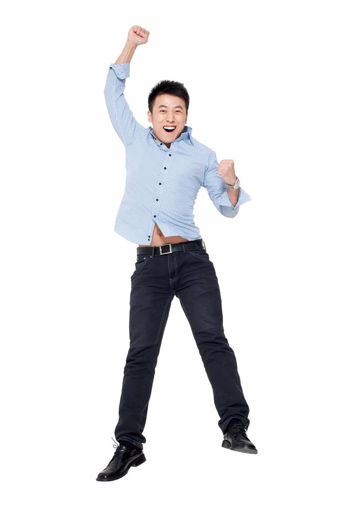 Stock Photo: 1839R-25785 An excited young man