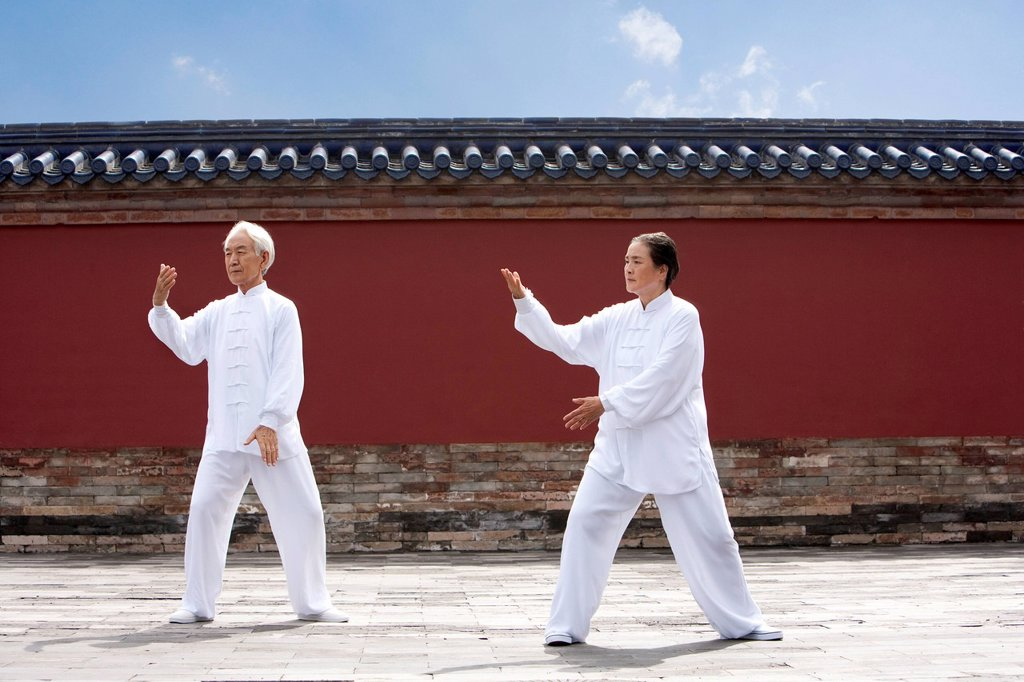 Stock Photo: 1839R-26516 Senior Couple Practicing Tai Chi, Temple of Heaven