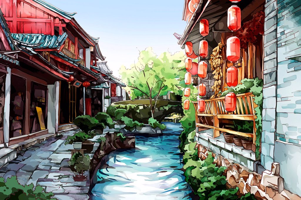 Stock Photo: 1839R-27311 Old Chinese town__Lijiang