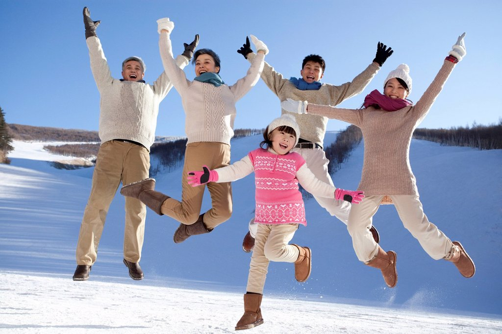 Stock Photo: 1839R-27857 Family having fun in snow