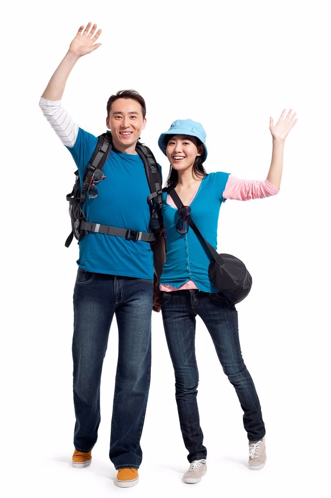 Portrait of young couple travelling : Stock Photo