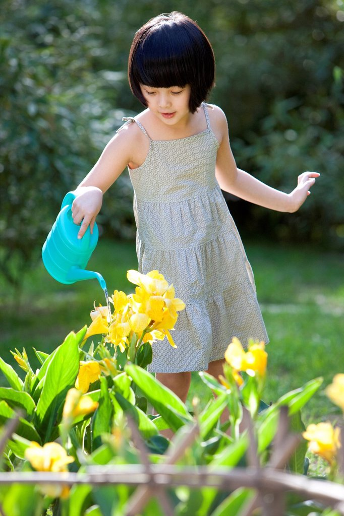Little girl watering in garden : Stock Photo