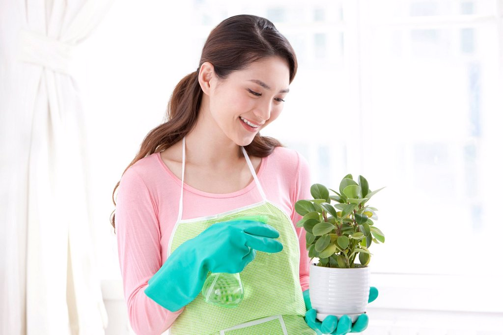 Stock Photo: 1839R-28800 Young woman watering plant