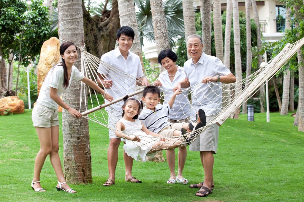 Portrait of a happy family on vacation : Stock Photo