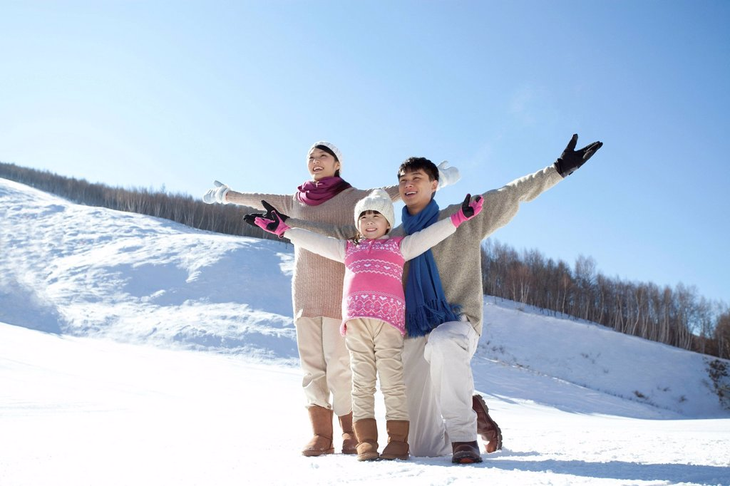 Stock Photo: 1839R-31018 Family having fun in snow